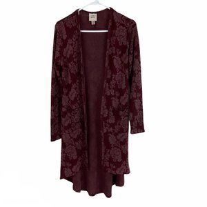 Knox Rose Maroon Floral Boho Open Front Duster XS